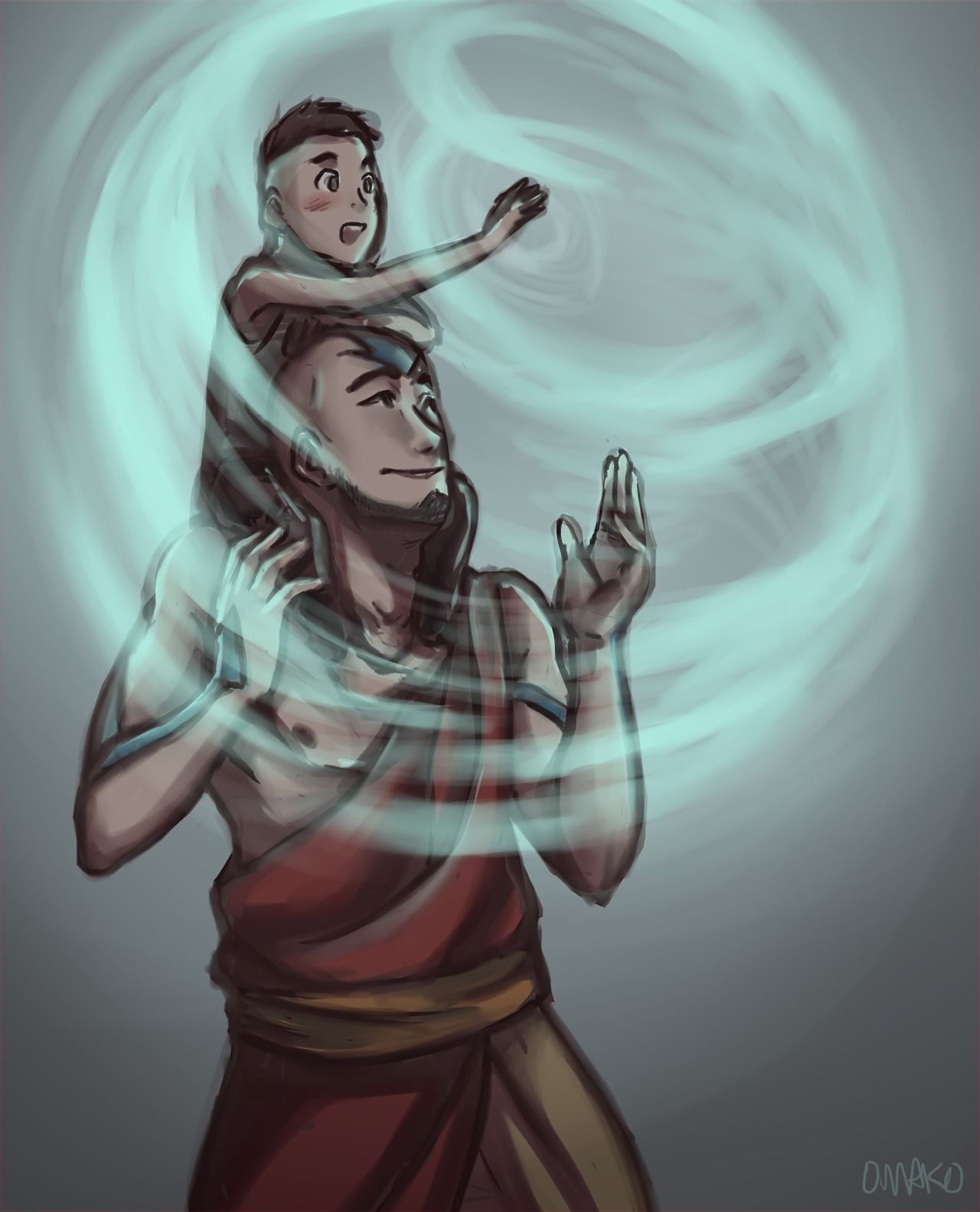 Like father like son- Aang and Tenzien