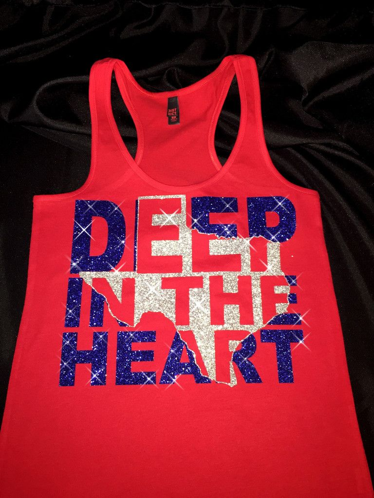 Deep In The Heart 4th Of July Bling Shirt Tank Texas Love