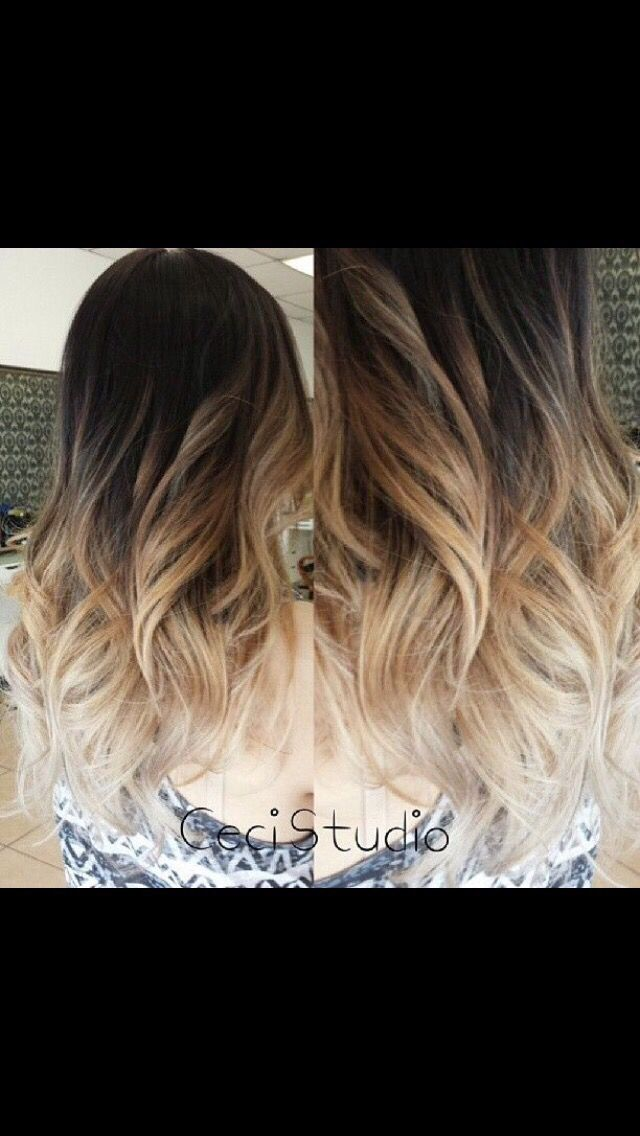 Beautiful Ombre Hair Color; Dark brown to Highlight blonde ...