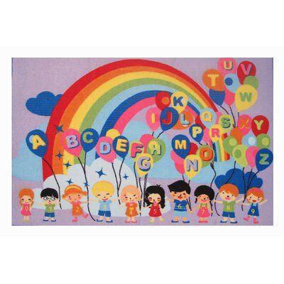 "Photo of Zoomie Kids Corina Educational Balloons Kids Rug Rug Size: 4'3"" x 6'6"""