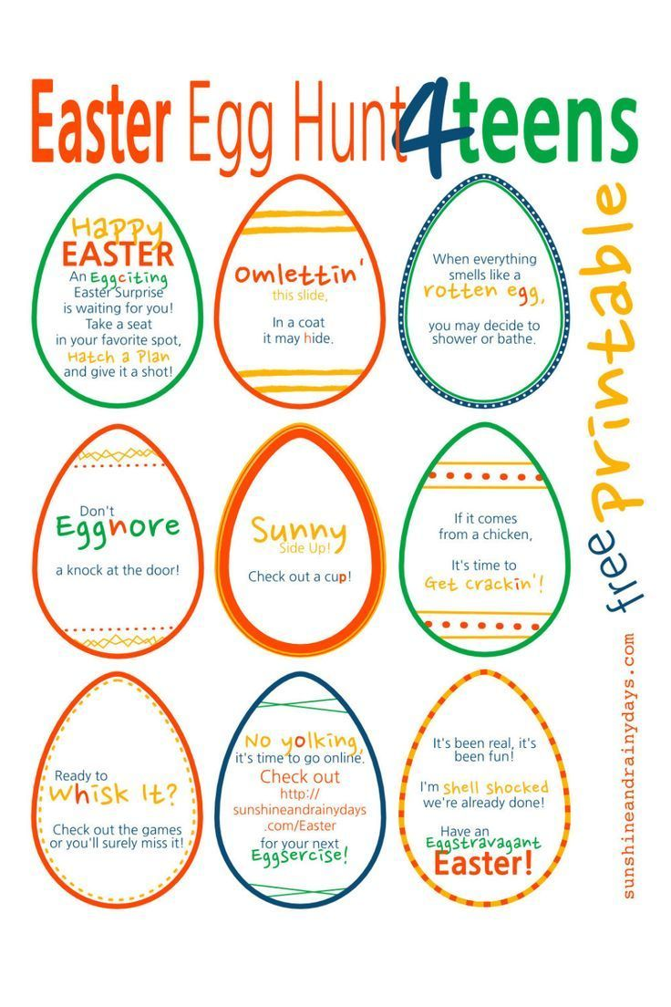 A Punny Easter Egg Hunt for Teens! Easter egg hunt clues