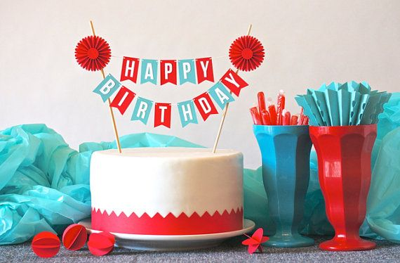 Mini Banner or Cake Bunting in Red Aqua Happy Birthday with