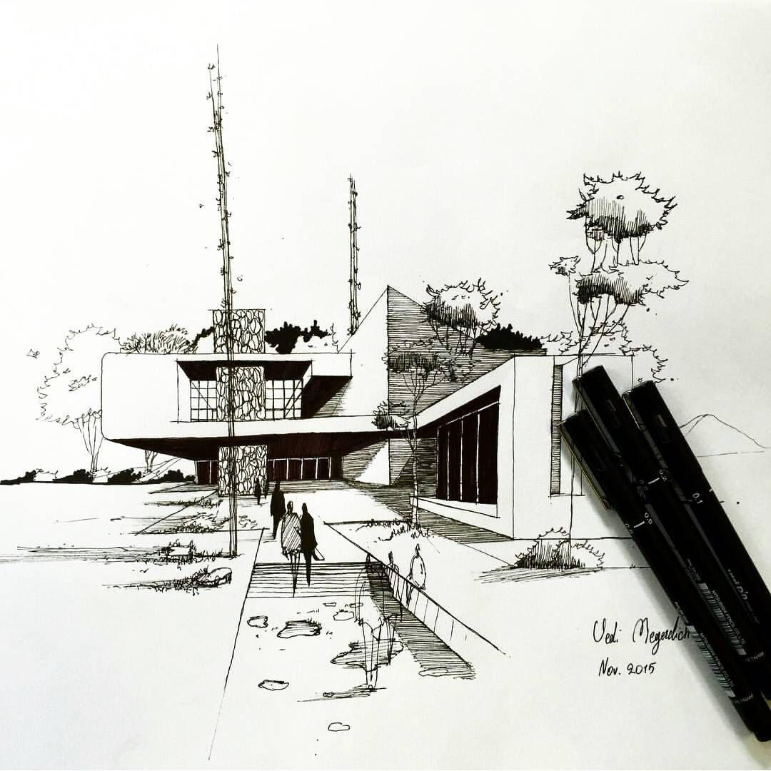"""Architecture - Daily Sketches on Instagram: """"By @vedimgr #arch_more"""" 