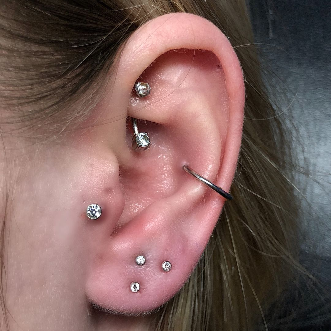 Second ear piercing ideas  added a stacked lobe to create a triangle  iuve done everything on