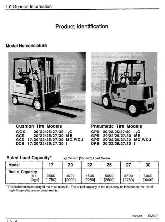 Original Illustrated Factory Workshop Service Manual for Clark LPG Forklift Truck Type SM520