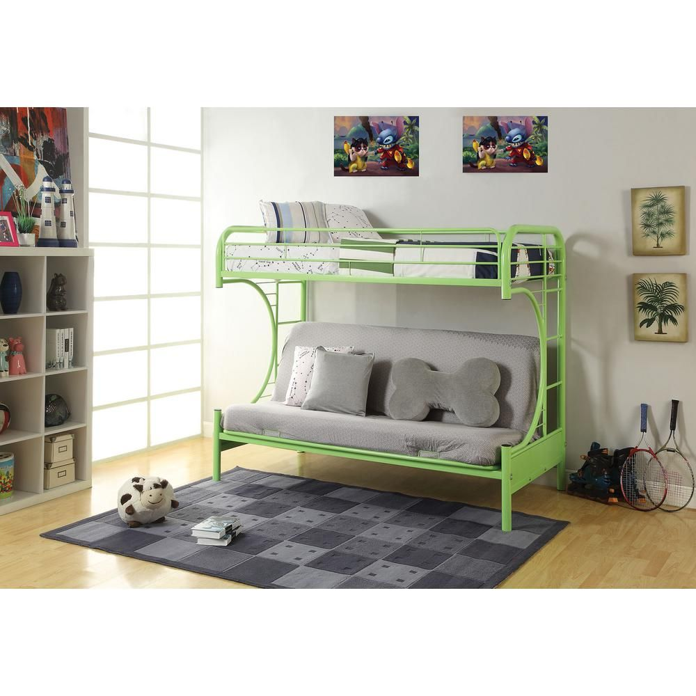 Acme furniture eclipse green twin over full metal bunk bed