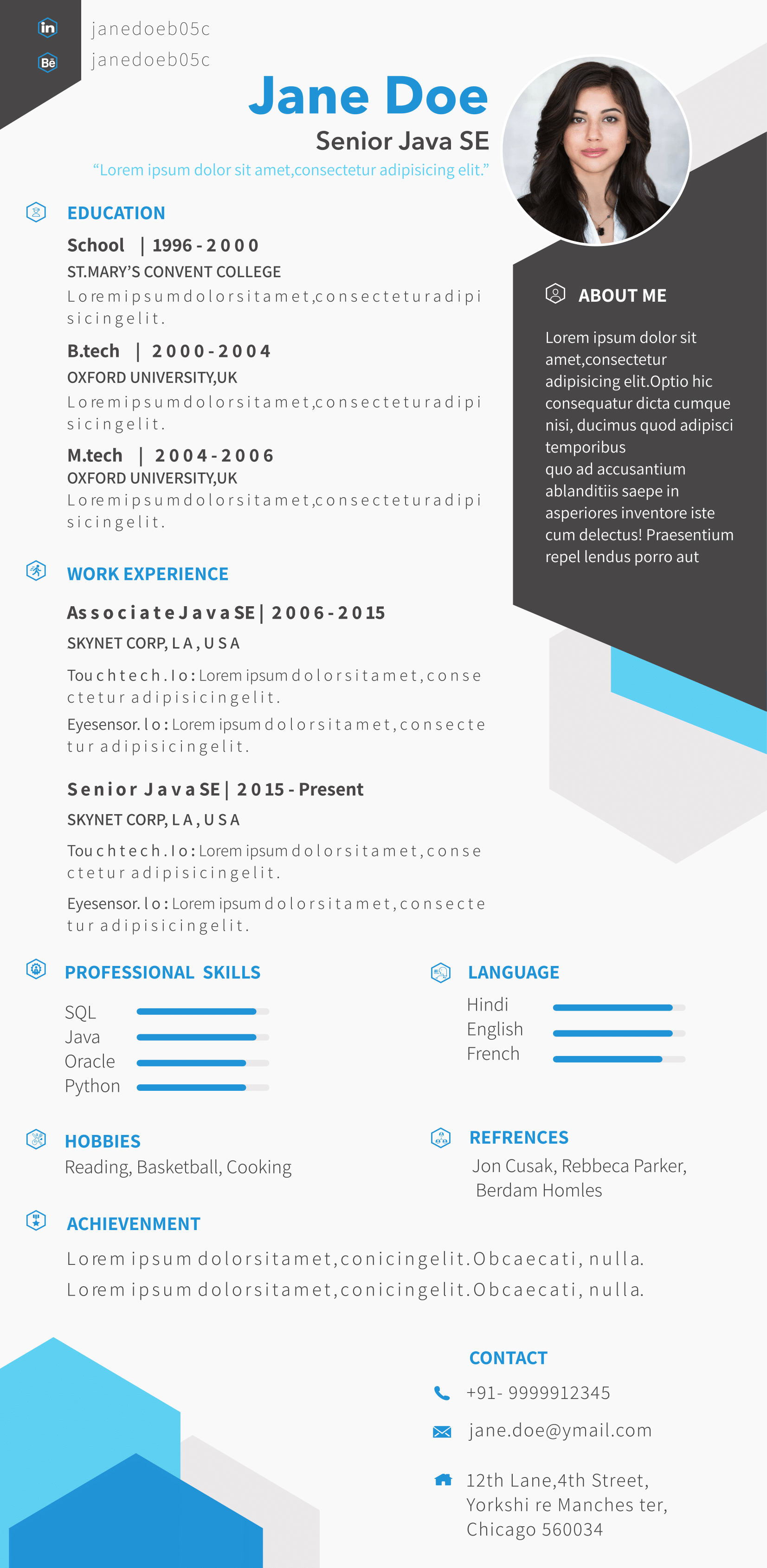 Visual CV Template, Professional and elegant design. Personalize and ...