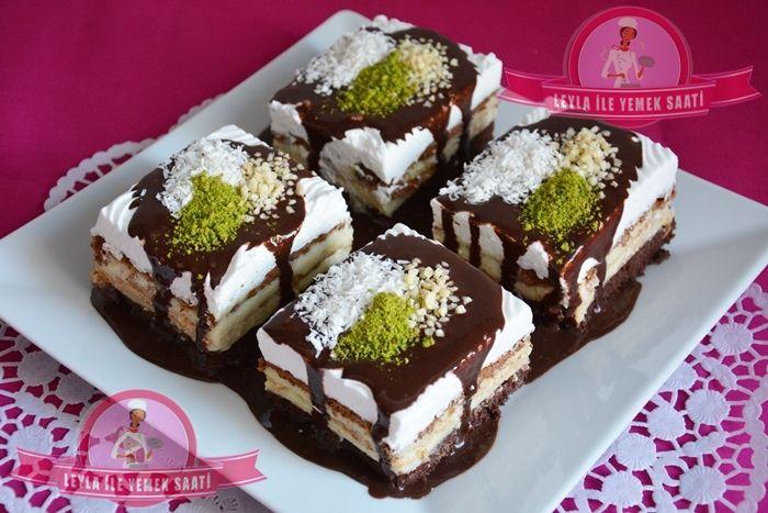 Kek – Bisküvi ve Pudingli Pasta Tarifi – Kuchen mit Teig, Keks und Puddingschicht | LEYLA İLE YEMEK SAATİ