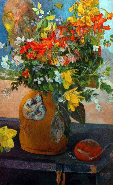 Paul Gauguin - Post Impressionism - Tahiti - Bouquet de Fleurs - 1899   Paul gauguin ...