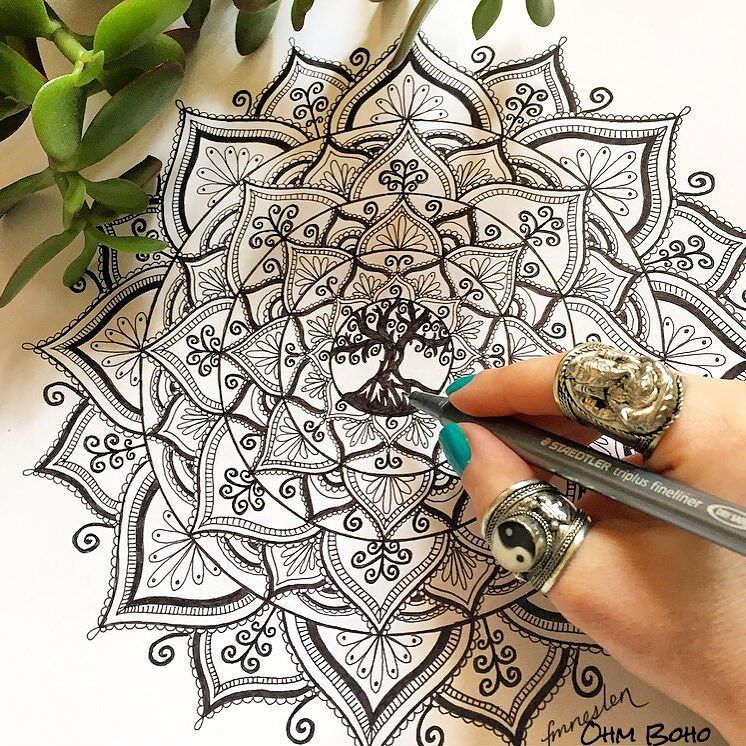 Tree Of Life Mandala Whilst Wearing Our Ganesh Ring U0026 Ying Yang Ring ॐ  Www.ohmboho.com ॐ By Ohmboho