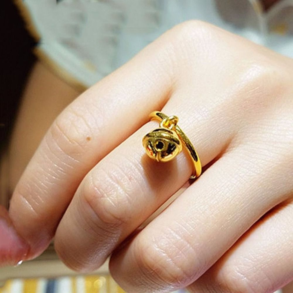 Click to Buy << Pure 999 24K Yellow Gold Ring Women 3D Special ...