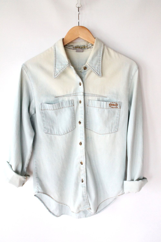 15ccfefd4f2 Vintage 80s Bleached   Worn In Light Denim Shirt    Womens Faded Work Shirt.   44.00