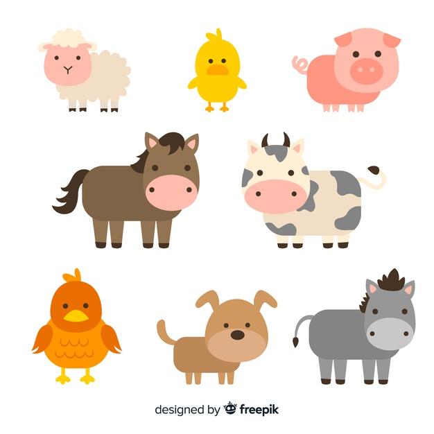 Flat Farm Animal Collection Farm Cartoon Animal Clipart Farm Animals