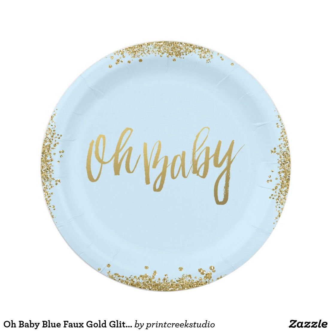 Oh Baby Blue Faux Gold Glitter Baby Shower