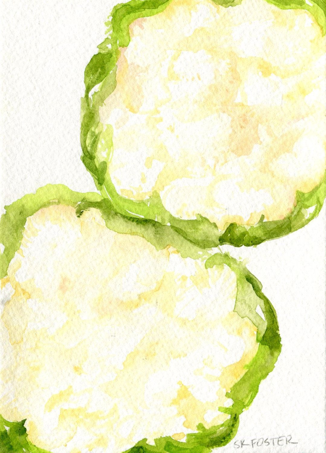 Cauliflowers watercolor painting original, Vegetable watercolors, 5 ...