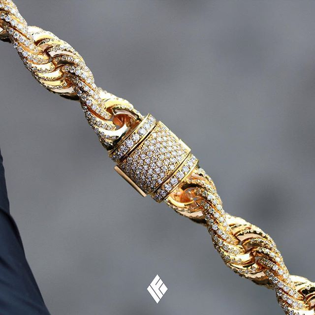 Solid 14k Yellow Gold 10mm Rope Chain Fully Iced Out With White Diamonds Custom Made To Order Ropechain Chains For Men Gold Chains For Men Diamond Bracelets