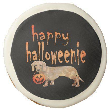 Cute Halloween Dachshund Happy Halloweenie Sugar Cookie - halloween
