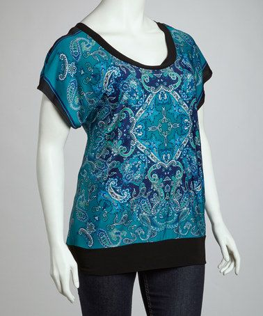 Take a look at this Blue & Black Open-Back Top - Plus by Wrapper on #zulily today!