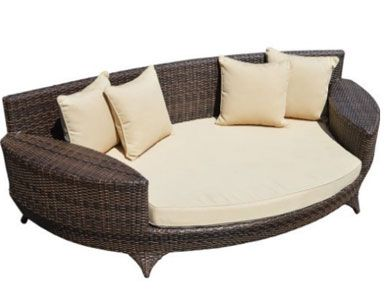 Love Sofa Day Bed Brown All Weather Synthetic Outdoor Rattan