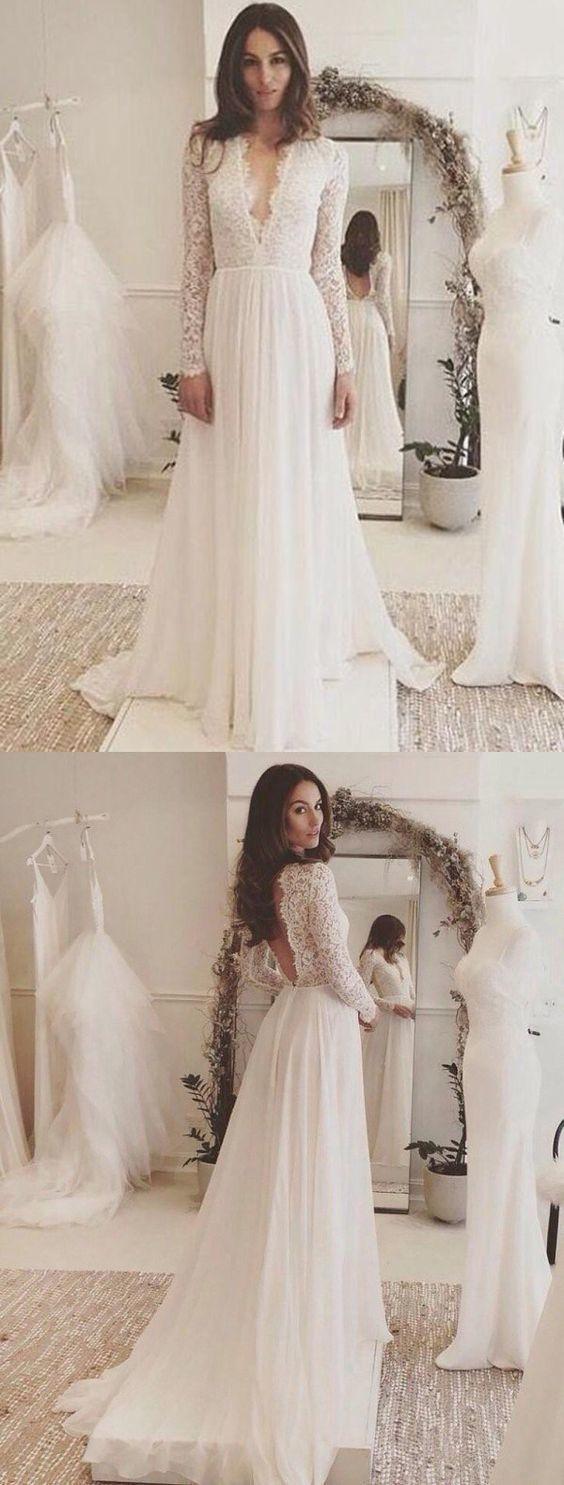 Long sleeve wedding dress chiffon lace vneck wedding dress my