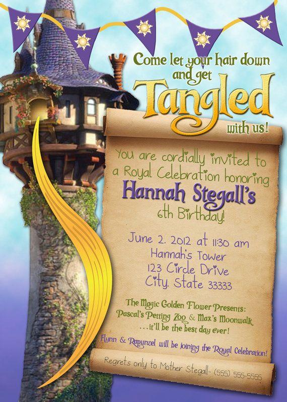 Tangled Rapunzel Girl Customizable Birthday Invitation digital