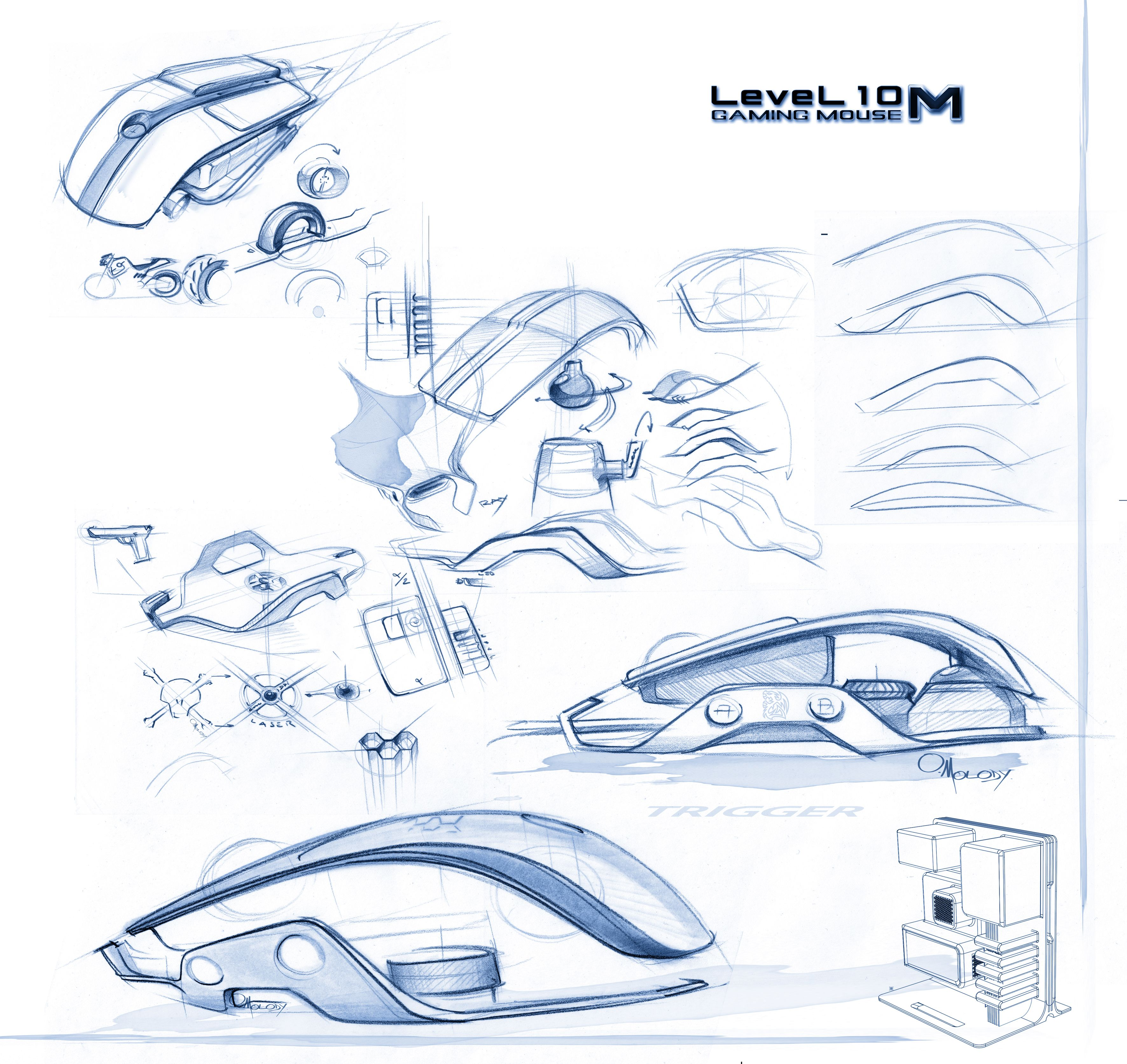 Design Sketches, Level 10 Gaming Mouse | O. Molody.