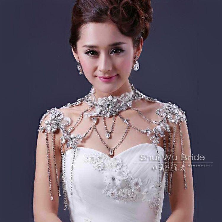 Water bride luxurious necklace rhinestone chain jewelry wedding ...