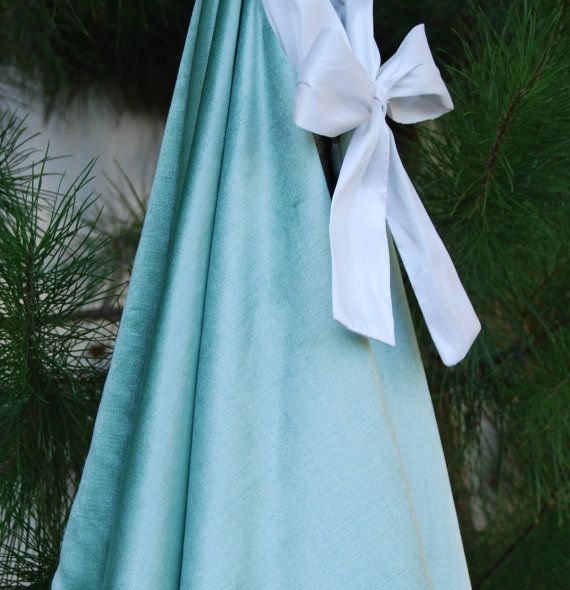 Aqua Christmas Tree Skirt: Turquoise Blue Velvet Christmas Tree Skirt With Cone
