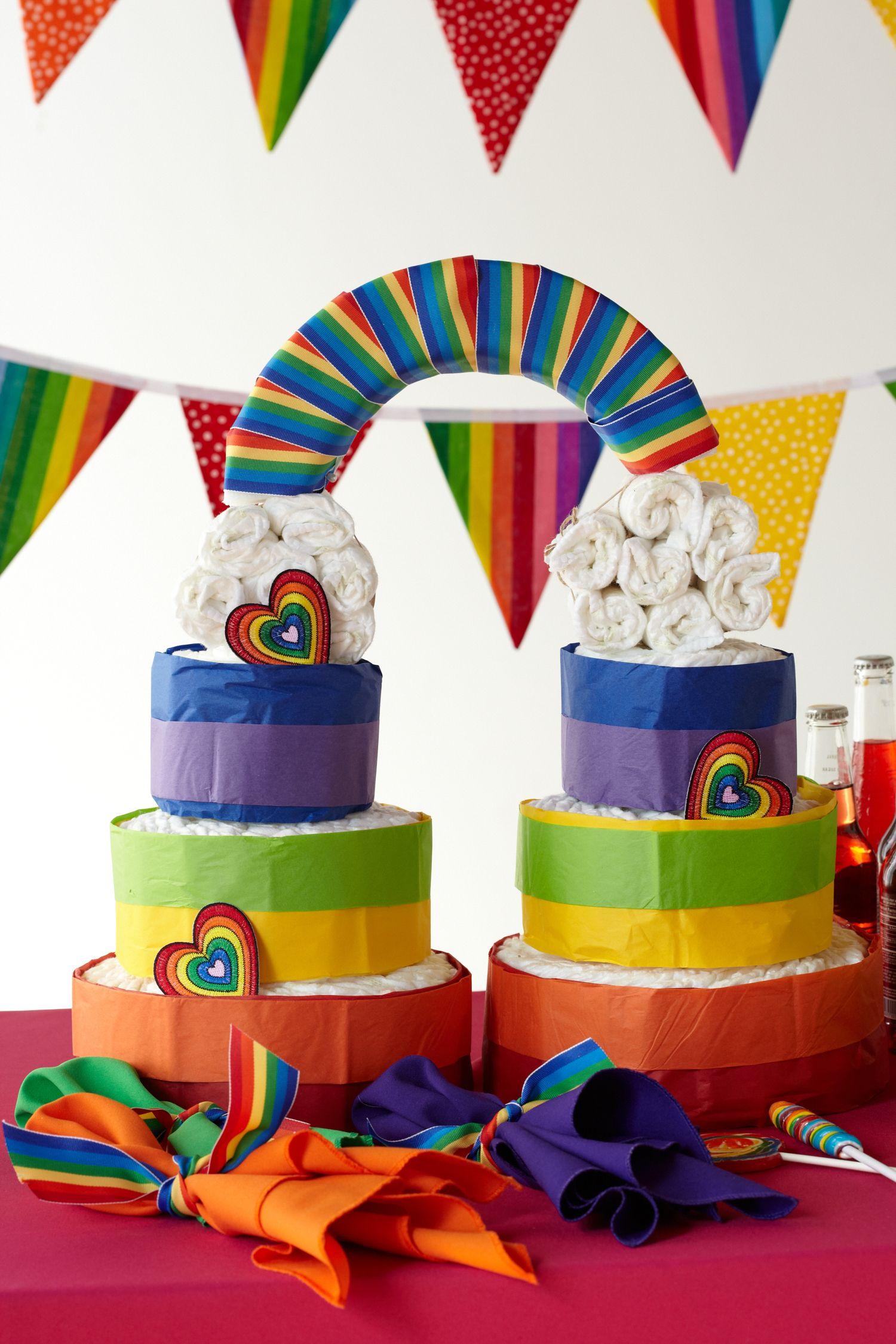 Rainbows J S Shower Ideas Diy Diaper Cake Baby Shower