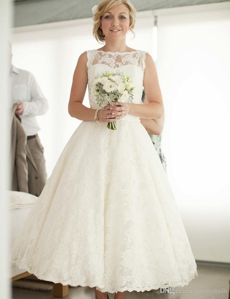 vintage tea length wedding dresses - Google Search | Esküvői ruhák ...