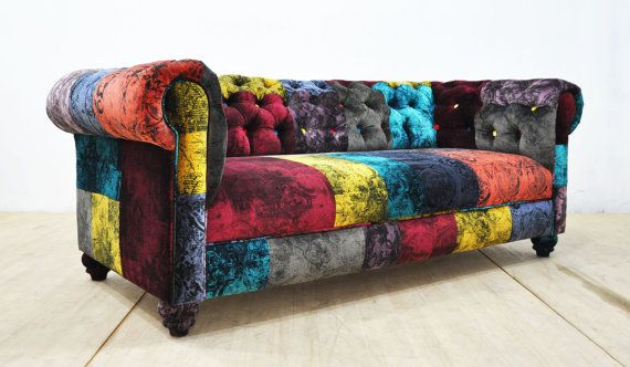 Canape Chesterfield Patchwork Gothique Velours Sofa Upholstery Diy Patchwork Sofa Modern Sofa Designs
