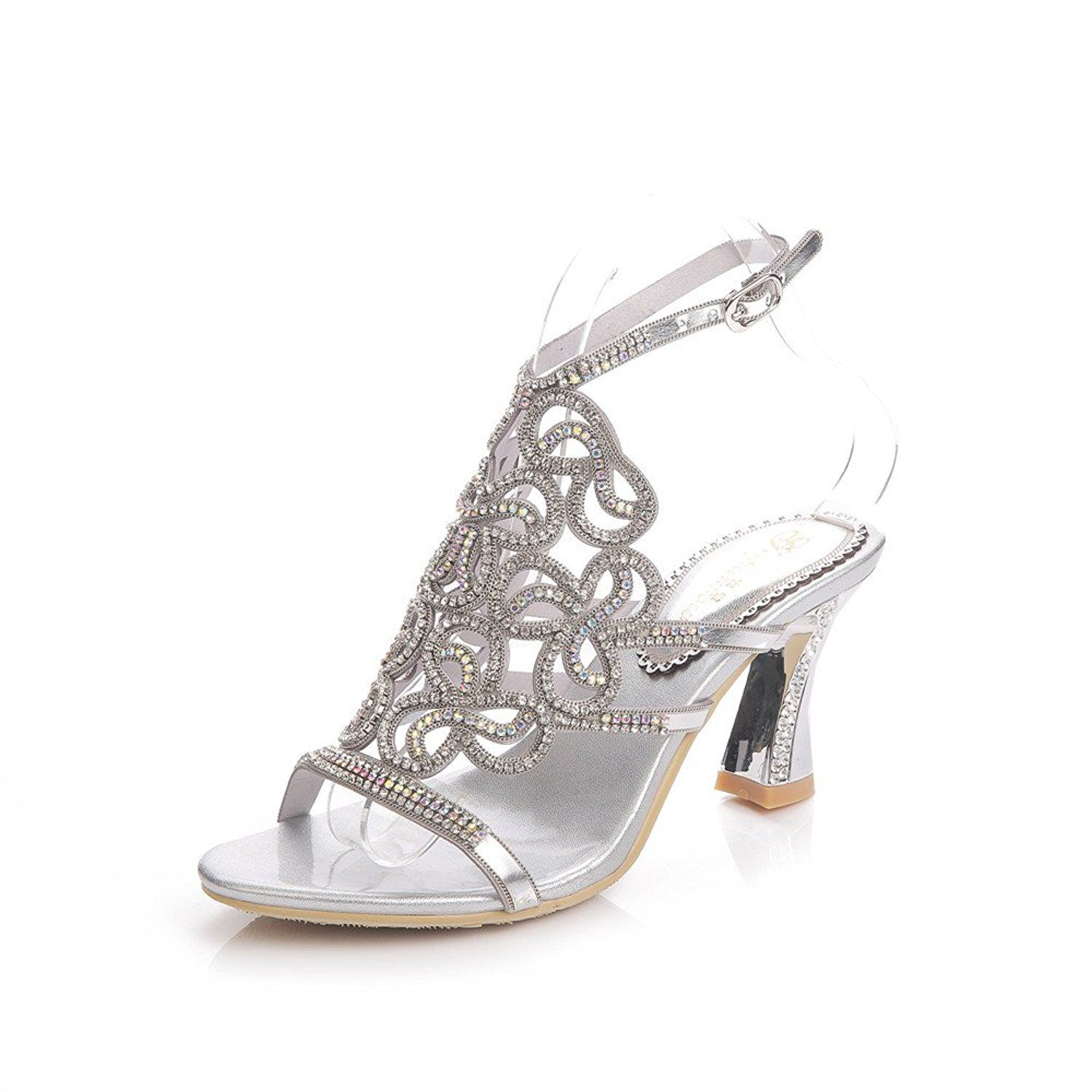ed50226a04c7 Unicorelle Women s Bohemian Crystal Rhinestone with Adjustable Sling Peep  Toe Open Back Bridal Sandals     Read more at the image link.