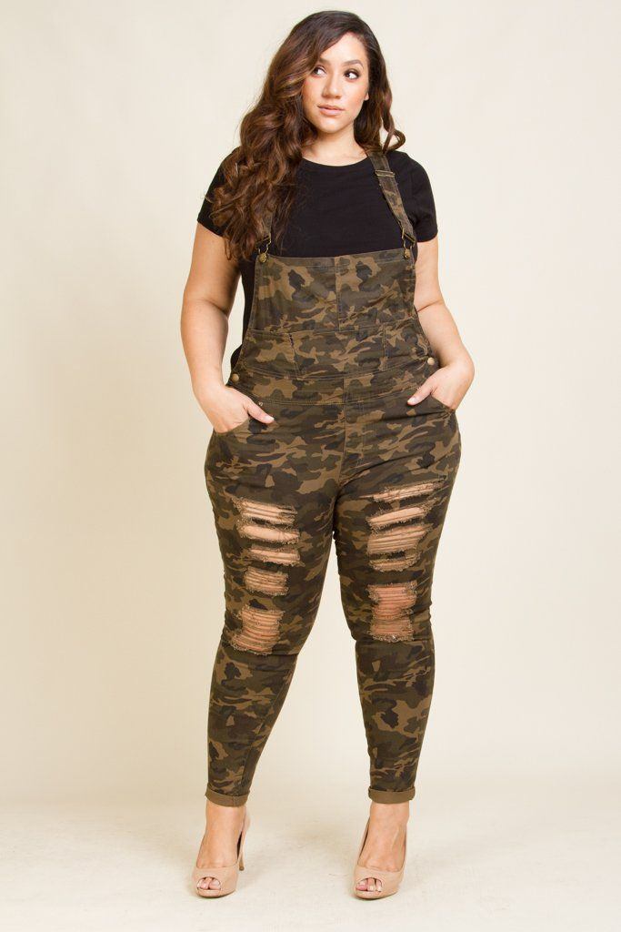 c6efbe9b601 Plus Size Distressed Camo Twill Overall in 2019