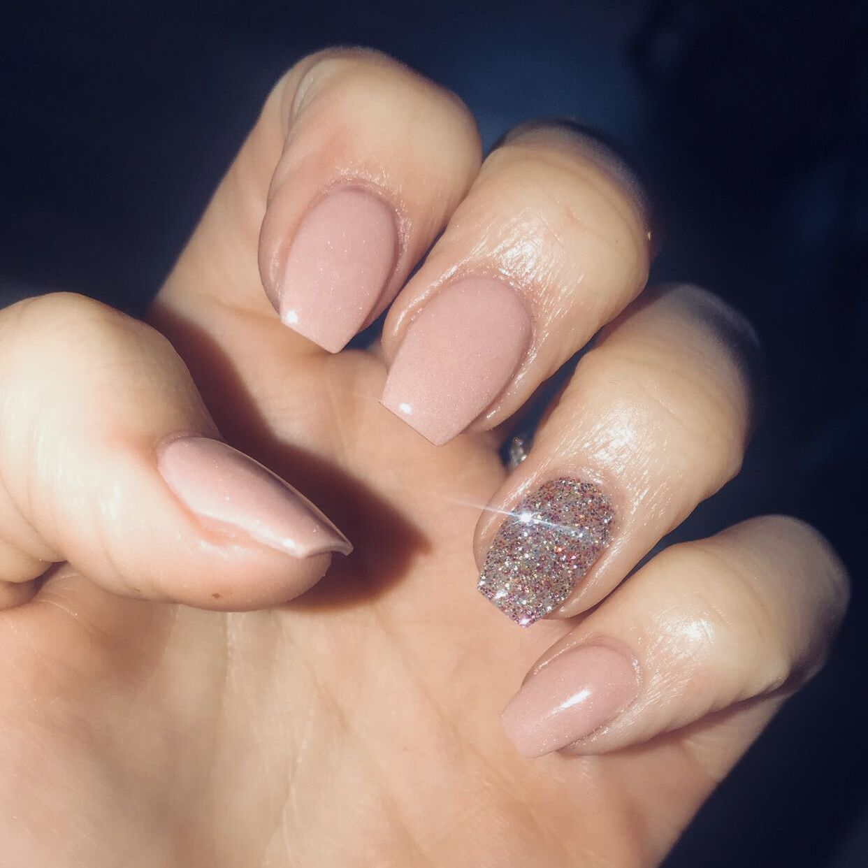 Short nude pink coffin nails with a sparkle accent nail | Nails I ...