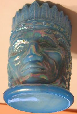 Details about ST CLAIR JOE GLASS BLUE CARNIVAL DRAPE TOOTHPICK