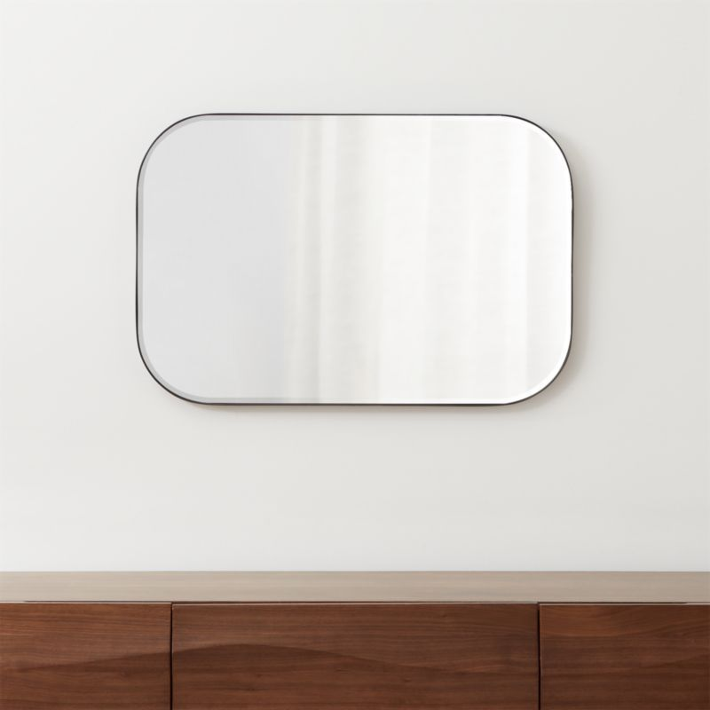 Edge Black Rounded Rectangle Mirror Reviews Crate And Barrel Rectangle Mirror Minimalist Wall Mirrors Rounded Rectangle