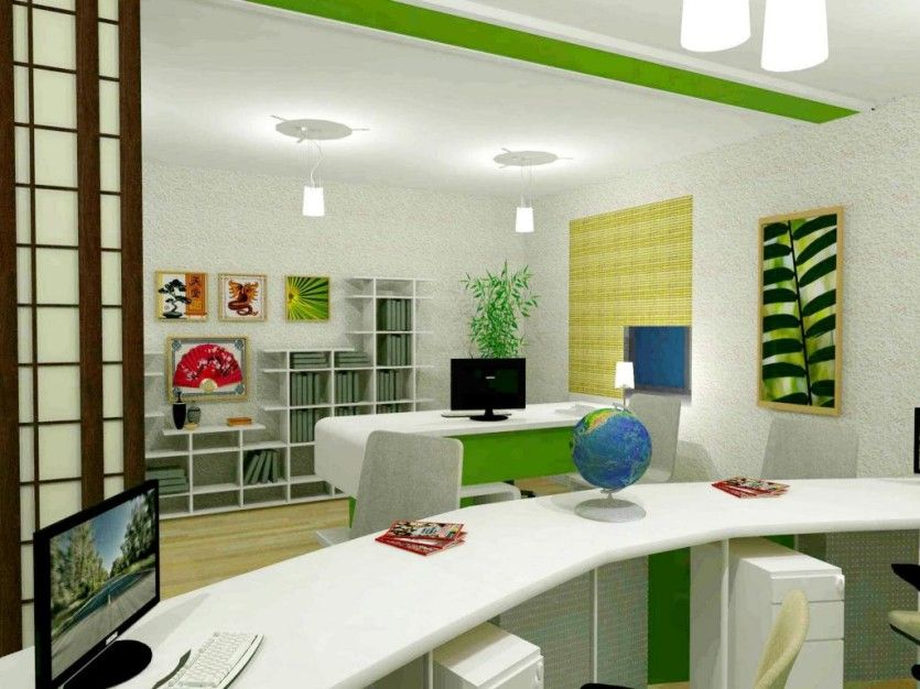 stunning feng shui workplace design. Home Office:Stunning Feng Shui Workplace Design With Small Pendant Lamp And White Green Office Stunning N