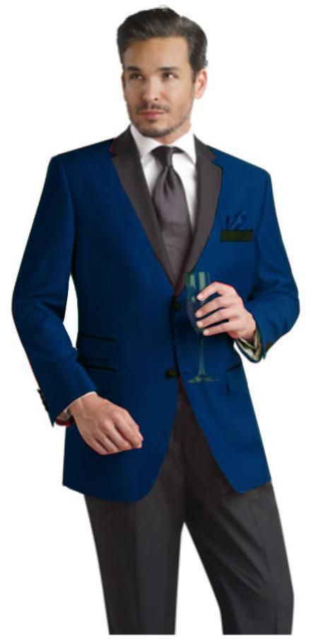 SKU#NVB199 Navy ~ Midnight Blue Two Button Notch Party Suit ...
