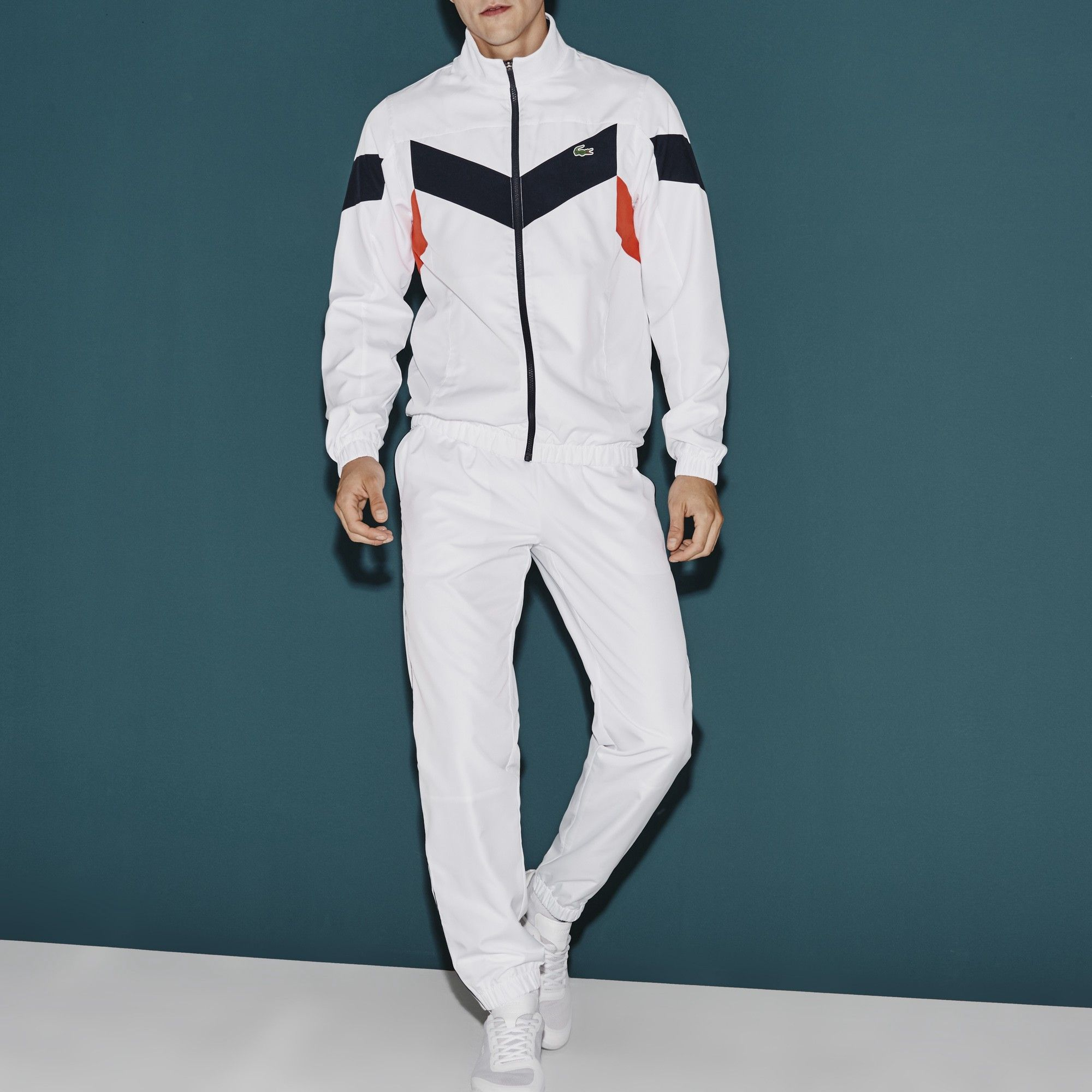 7f28aed60b LACOSTE Men's SPORT Tennis Colorblock Tracksuit - white/navy blue ...