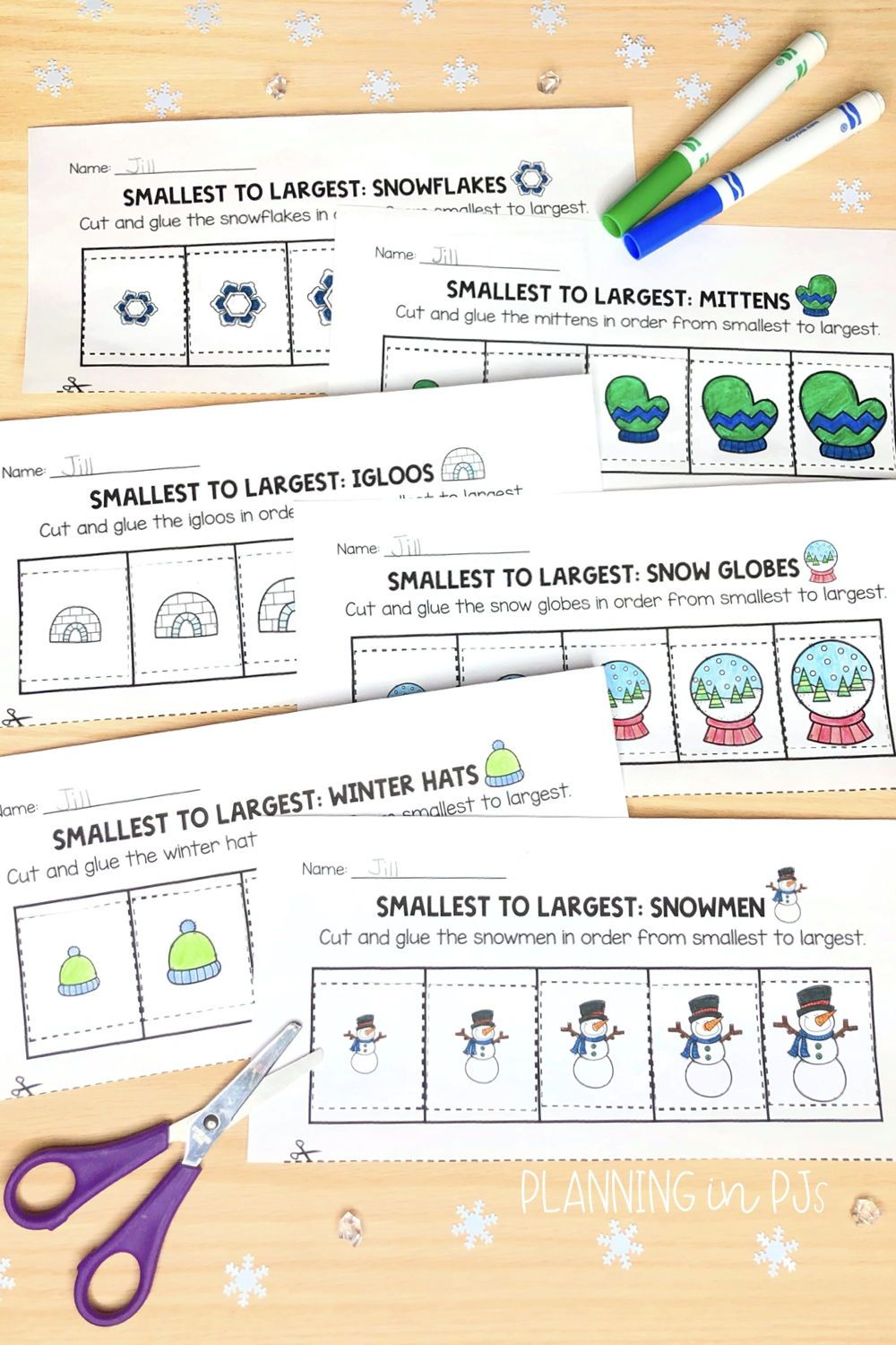 Winter Size Ordering Bundle From Smallest To Largest Winter Math Winter Theme Kindergarten Centers