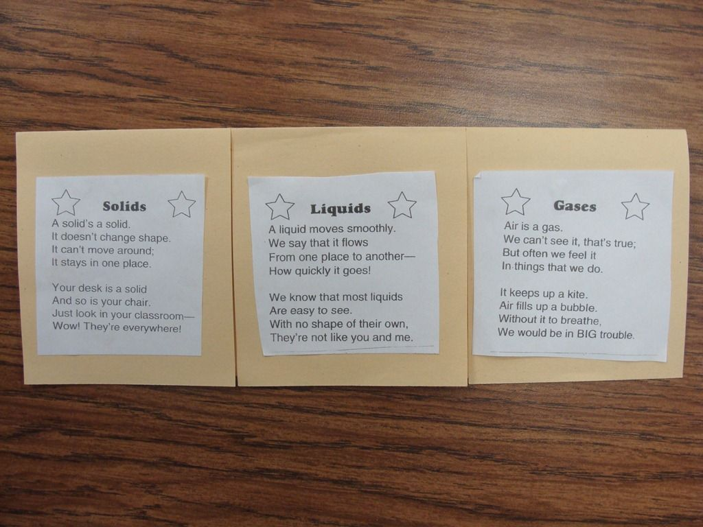 Solid Liquid Gas Poems For Flip Book