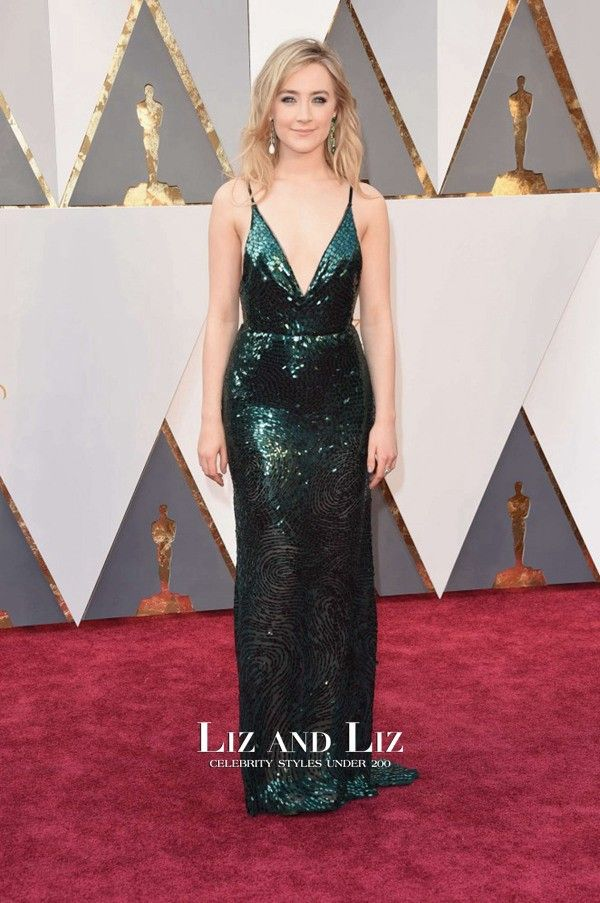 Saoirse Ronan Green V-neck Sequin Dress Oscars 2016 Red Carpet ...