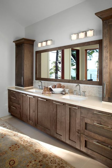 Beautiful Wooden Bathroom Vanity Cabinets Looks Natural Inside The Contemporary With Woodframe Wall Mirror
