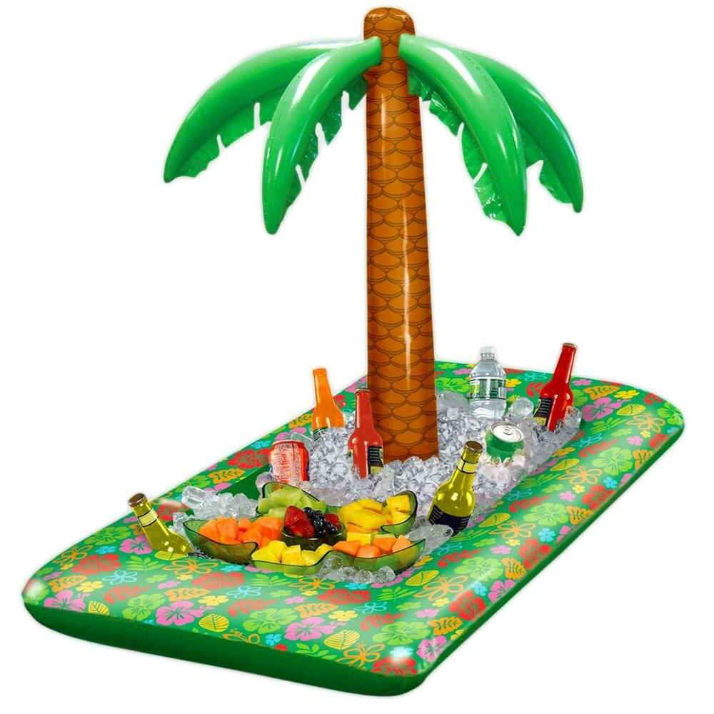 Inflatable Hawaiian Palm Tree Luau Food Drinks Cooler Beach BBQ Party Decoration