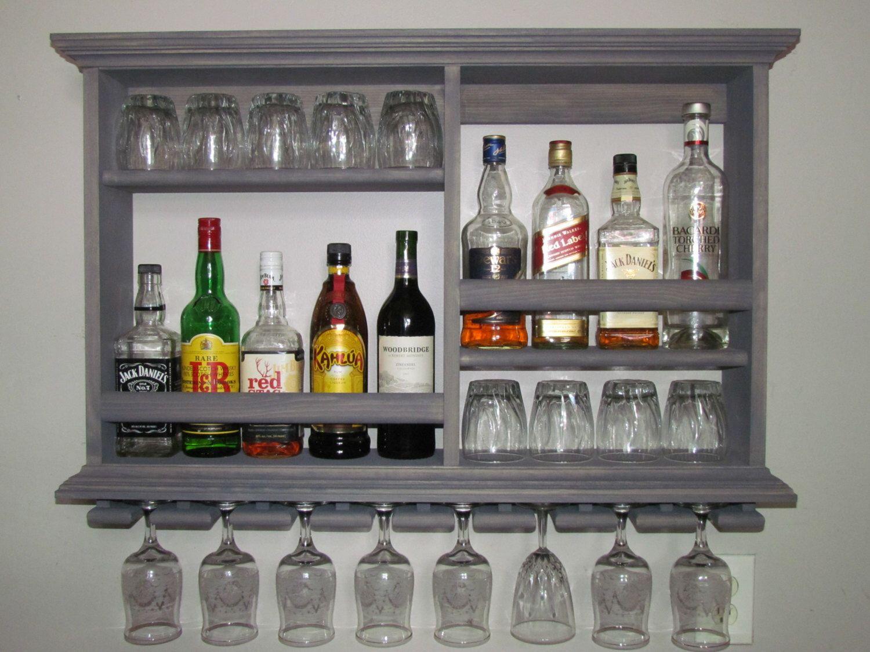 Mini Bar Weathered Gray Wine Rack Liquor Cabinet 3 X 2