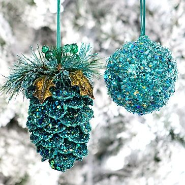 cover pinecones and ornaments with bright colored glitter - bjl