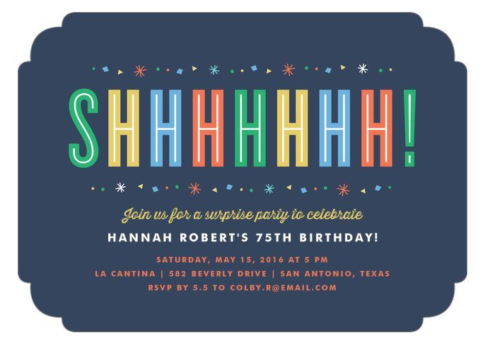 75th birthday invitations 50 gorgeous 75th party invites colorful surprise birthday party invitations will remind your guests to keep the celebration a secret stopboris Choice Image