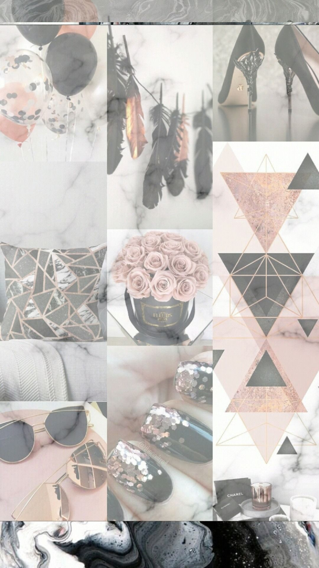 Wallpapers Rose Gold Collage Gold Wallpaper Iphone