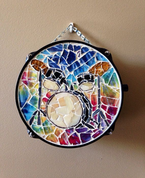 Mosaic drum set art on a repurposed snare drum with a tie for Repurposed drum shelf