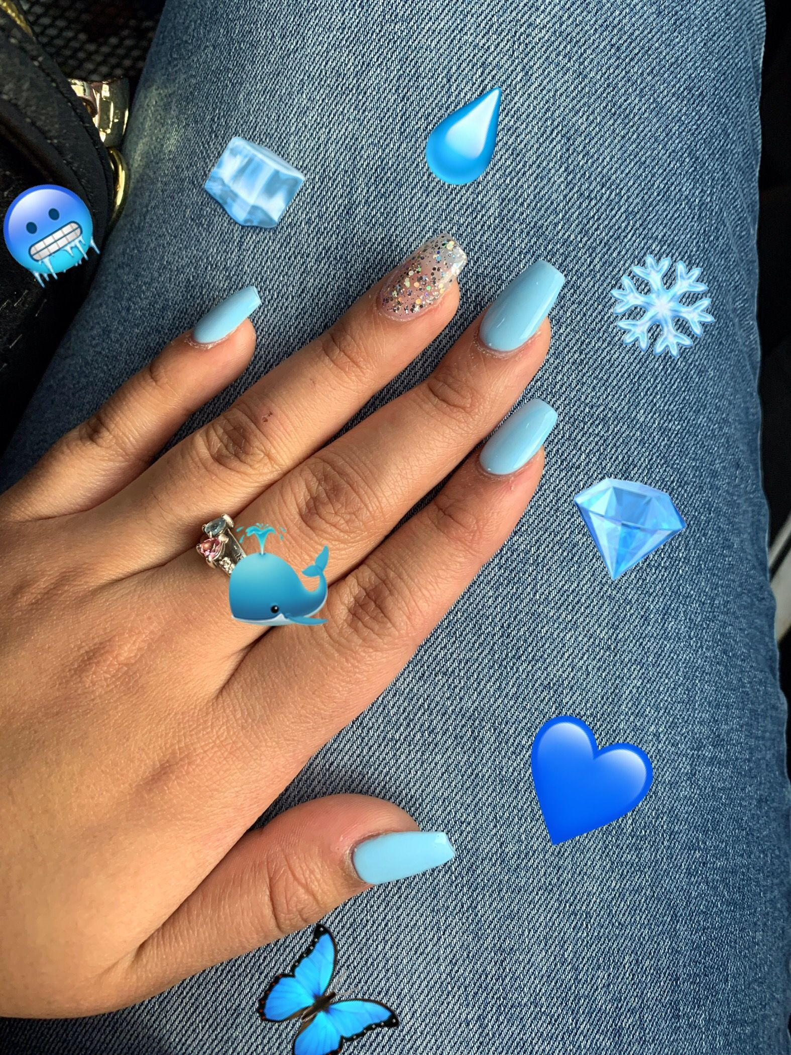 Light Blue Medium Length Coffin Shaped Nails In 2020 Coffin Shape Nails Acrylic Nails Coffin Pink Gold Acrylic Nails